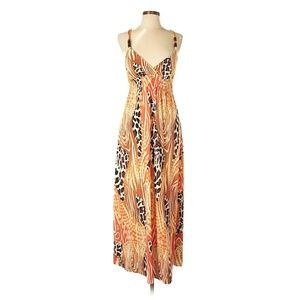 Alyn Paige Orange Animal Print V-Neck Maxi Dress